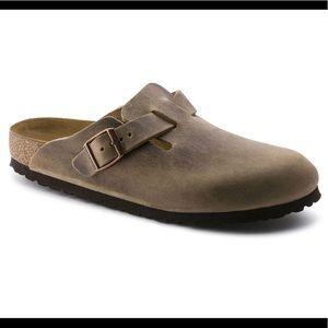 Birkenstock Boston Leather Tobacco Brown Clogs 39